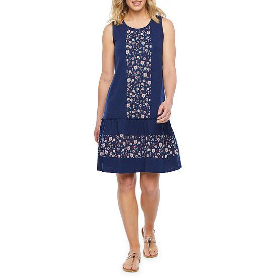 St. John's Bay Sleeveless Floral A-Line Dress
