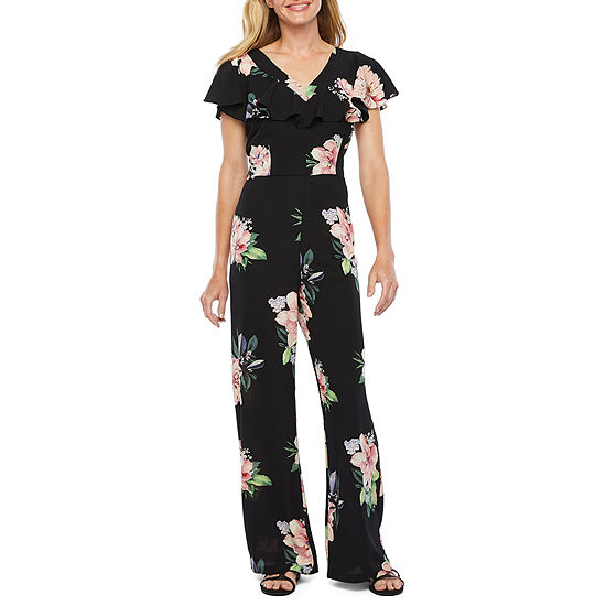 R & K Originals Short Sleeve Floral Jumpsuit