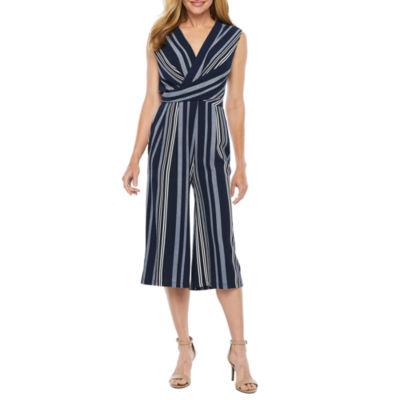 R & K Originals Sleeveless Striped Jumpsuit
