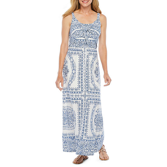 London Style Sleeveless Paisley Maxi Dress