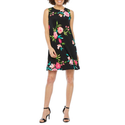 Jessica Howard Sleeveless Floral Swing Dresses-Petite
