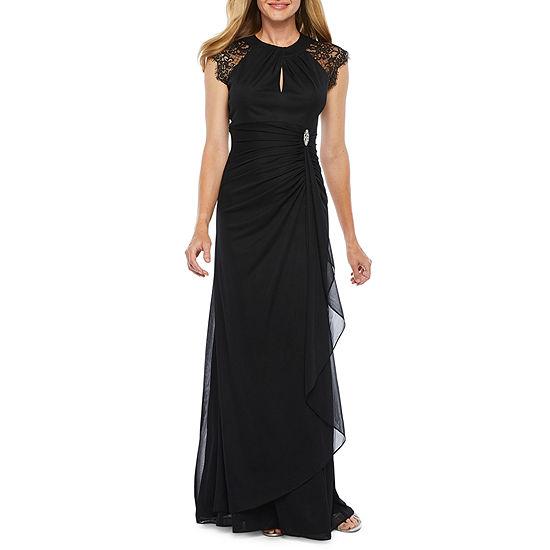 DJ Jaz Cap Sleeve Embellished Evening Gown