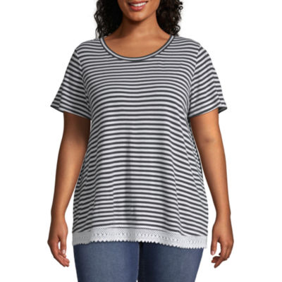 Short Sleeve Stripe Lace Trim Tee - Plus