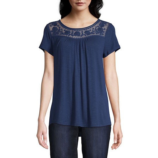 St. John's Bay Embroidered Mesh Tee - Tall