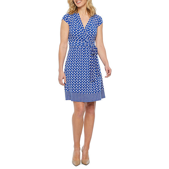 Liz Claiborne Short Sleeve Geometric Wrap Dress