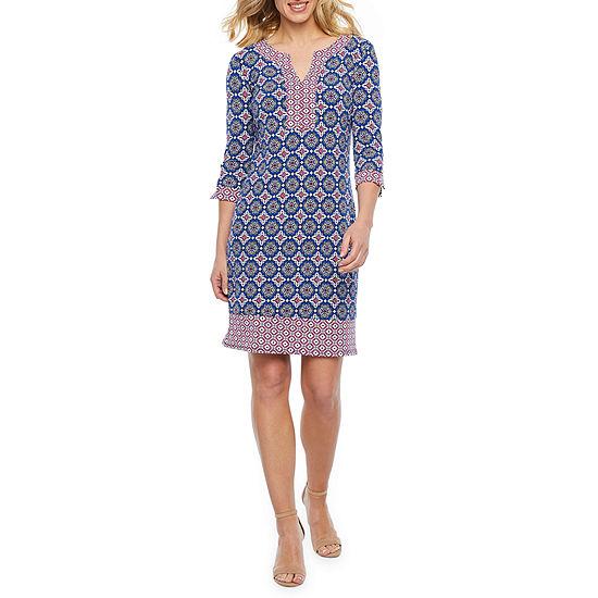 Liz Claiborne 3/4 Sleeve Medallion Shift Dress