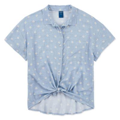 Arizona Girls Short Sleeve Button-Front Shirt Big Kid