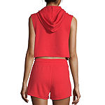 Flirtitude Sleeveless French Terry Hoodie-Juniors