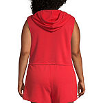 Flirtitude Sleeveless French Terry Hoodie-Juniors Plus