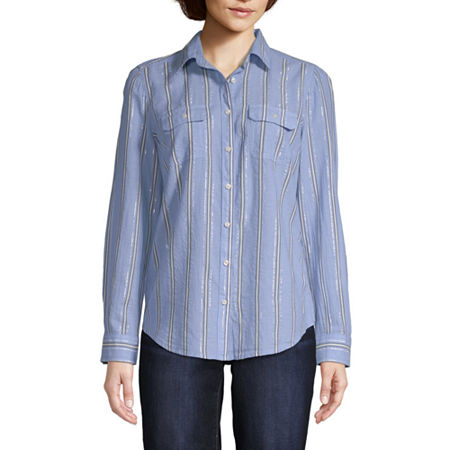 St. John's Bay Womens Long Sleeve Regular Fit Button-Down Shirt, Large , Blue