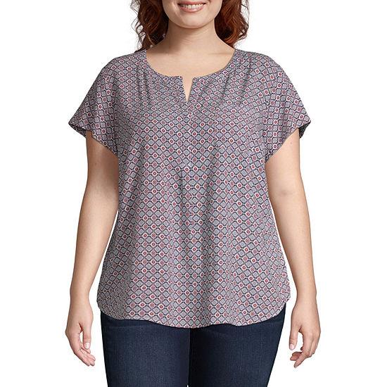 Liz Claiborne Short Sleeve Popover Tshirt - Plus