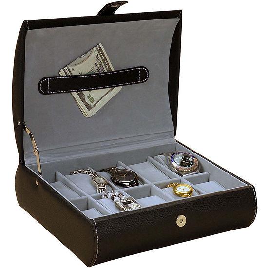 Mele & Co. Parker Black Faux Leather Watch Case