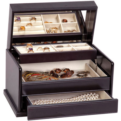 Mele & Co. Juliette Java-Finish Wooden Jewelry Box