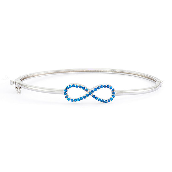 Simulated Blue Sapphire Sterling Silver Hinged Infinity Bangle Bracelet