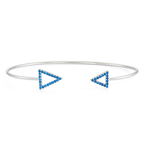 Lab-Created Blue Sapphire Sterling Silver Open Arrow Bangle Bracelet