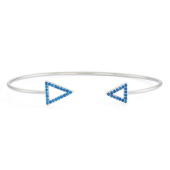 Lab-Created Blue Sapphire Sterling Silver Open Arrow Bangle Bracelet