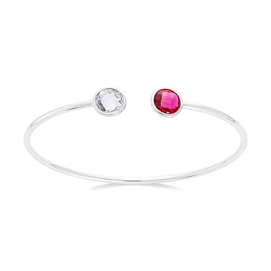 Simulated Pink And White Sapphire Sterling Silver Round Checkerboard Bangle Bracelet