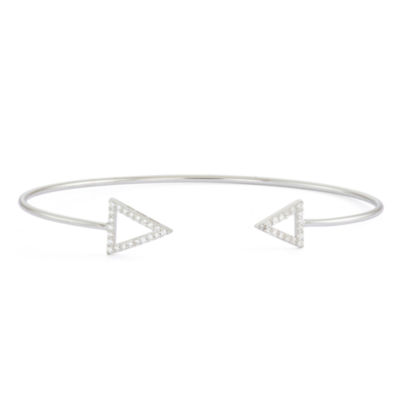 Simulated White Sapphire Sterling Silver Open Arrow Bangle Bracelet