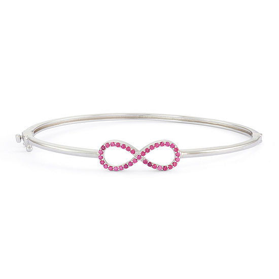 Simulated Ruby Sterling Silver Hinged Infinity Bangle Bracelet