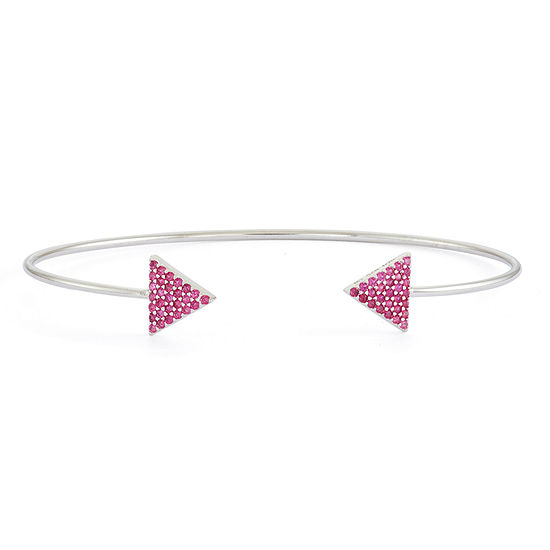 Simulated Ruby Sterling Silver Pave Arrow Bangle Bracelet