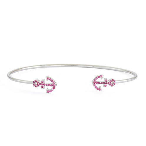 Simulated Ruby Sterling Silver Anchor Bangle Bracelet