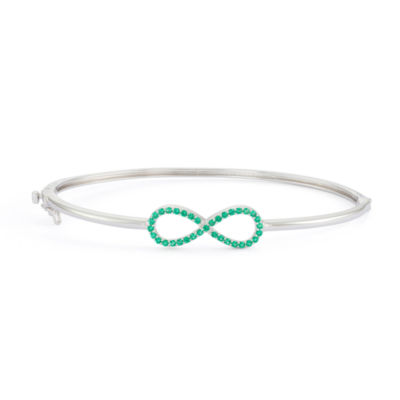 Simulated Emerald Sterling Silver Hinged Infinity Bangle Bracelet