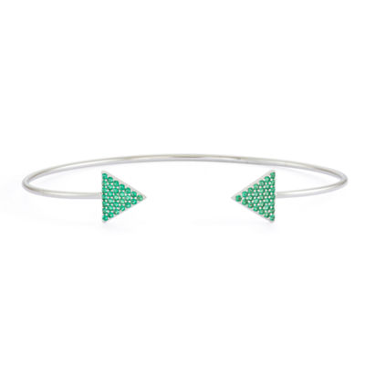Simulated Emerald Sterling Silver Pave Arrow Bangle Bracelet