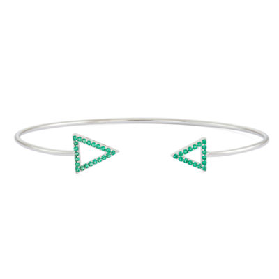 Simulated Emerald Sterling Silver Open Arrow Bangle Bracelet