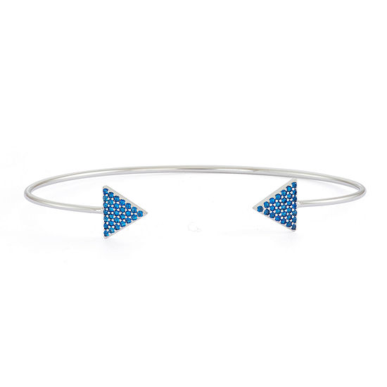 Simulated Sapphire Sterling Silver Pave Arrow Bangle Bracelet