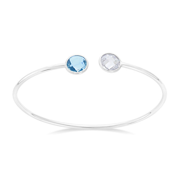 Simulated Blue Topaz And White Sapphire Sterling Silver Round Checkerboard Bangle Bracelet