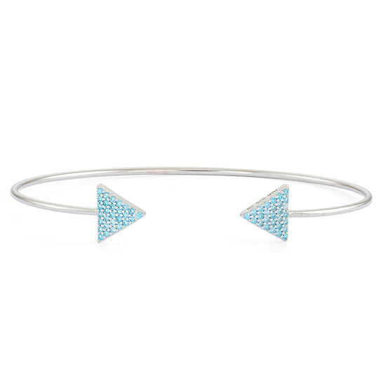 Simulated Blue Topaz Sterling Silver Pave Arrow Bangle Bracelet