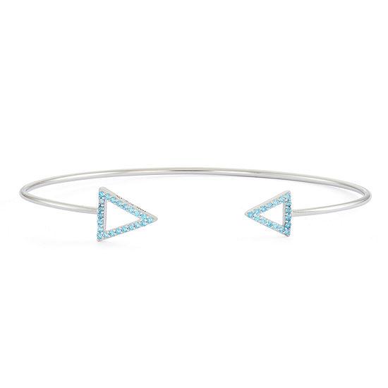 Simulated Blue Topaz Sterling Silver Open Arrow Bangle Bracelet