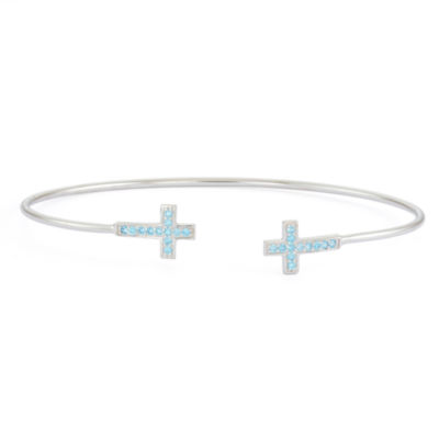 Simulated Blue Topaz Sterling Silver Cross Bangle Bracelet