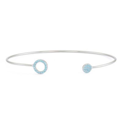 Simulated Blue Topaz Sterling Silver Circle Pave Bangle Bracelet
