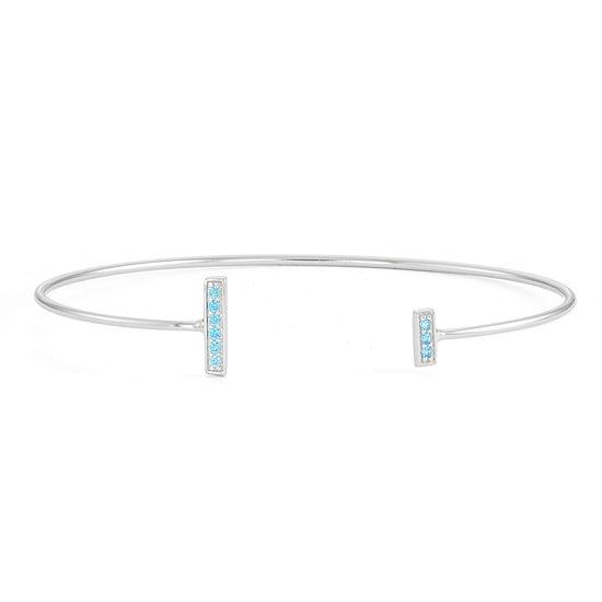 Simulated Blue Topaz Sterling Silver Bar Bangle Bracelet