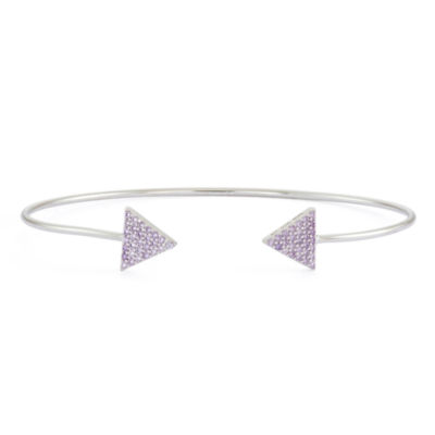 Simulated Amethyst Sterling Silver Pave Arrow Bangle Bracelet