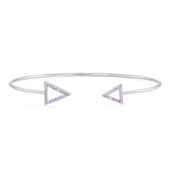 Simulated Amethyst Sterling Silver Open Arrow Bangle Bracelet