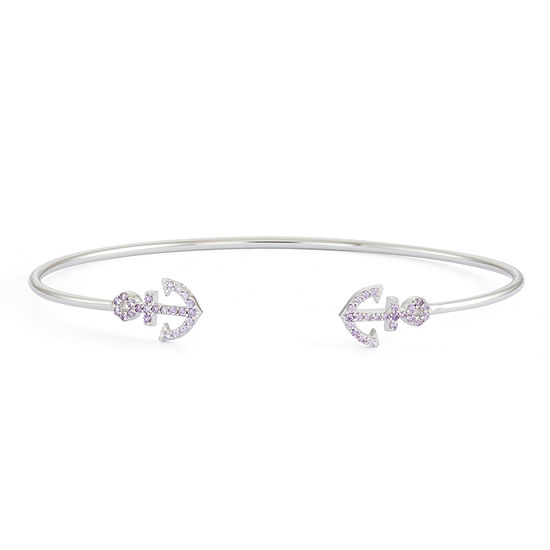 Simulated Amethyst Sterling Silver Anchor Bangle Bracelet
