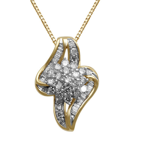 3/4 CT. T.W. Diamond In 10K Yellow Gold Pendant Necklace