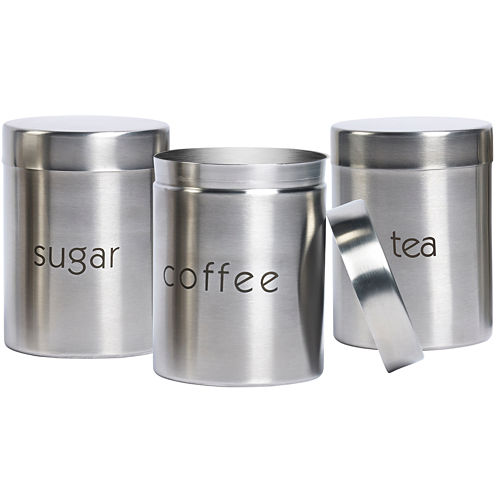 Basic Essentials® 3-pc. Stainless Steel Canister Set