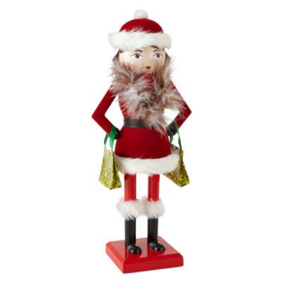 """North Pole Trading Co. Christmas Cheer 14"""" Shopping Girl Nutcracker"""