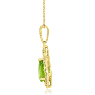 Womens Genuine Green Peridot 14K Gold Over Silver Pear Pendant Necklace