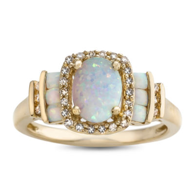 Womens 1/7 CT. T.W. Lab Created Opal 10K Gold Cocktail Ring