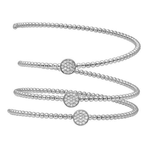 Diamonart Womens White Cubic Zirconia Sterling Silver Wrap Bracelet