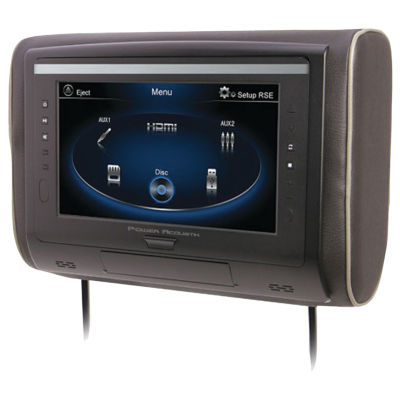 Power Acoustik H-94 9IN LCD Universal Headrest with IR & FM Transmitters & 3 Interchangeable Skins