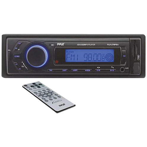 Pyle PLR27MPBU Single-DIN In-Dash Mechless AM/FM Receiver with Bluetooth