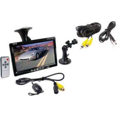 Pyle PLCM7700 7IN Window Suction-Mount LCD Widescreen Monitor & Universal Mount Backup Color Camerawith Distance-Scale Line