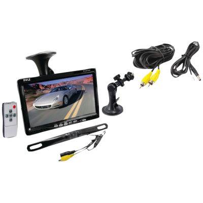 Pyle PLCM7500 7IN Window Suction-Mount LCD Widescreen Monitor & License Plate Mount Backup Color Camera with Distance-Scale Line