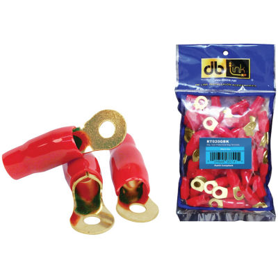 DB Link RT020GR 0-Gauge 5/16IN Gold-Plated Ring Terminals; 20 pk (Red)