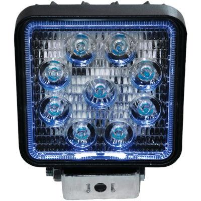 Race Sport Inc. RS27W4B 4IN Square 27-Watt 1;755-Lumen LED Spotlight with Halo (Blue)